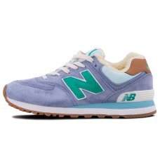 Зимние New Balance 574 Light Blue/Green With Fur