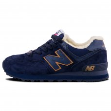 Фотография 1 Зимние New Balance 574 Dark Blue Yellow With Fur
