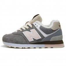 Зимние New Balance 574 Gray/Peach/Beige With Fur