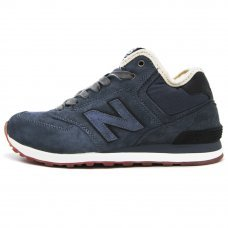 Зимние New Balance 574 High Blue-Grey/Black With Fur