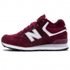 Зимние New Balance 574 High Burgundy With Fur