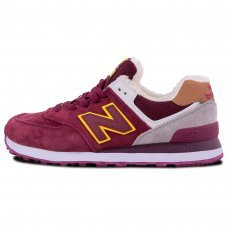 Зимние New Balance 574 Burgundy/White With Fur