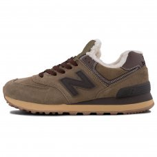Зимние New Balance 574 Dark Brown With White Fur