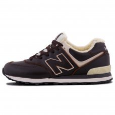 Фотография 1 Зимние New Balance 574 Dark Brown White With Fur