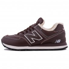 Фотография 1 Зимние New Balance 574 Dark Brown White With White Fur