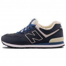 Зимние New Balance 574 Blue/White With White Fur