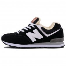 Фотография 1 Зимние New Balance 574 Black With White Fur