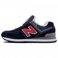 Фотография 1 Зимние New Balance 574 Red Blue With Fur