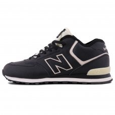 Зимние New Balance 574 High Black/White With Fur