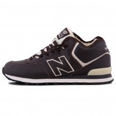 Зимние New Balance 574 High Brown/White With Fur