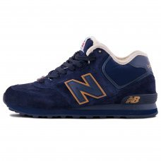 Зимние New Balance 574 High Dark Blue/Yellow With Fur