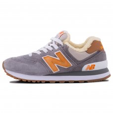 Зимние New Balance 574 Gray/Orange With Fur
