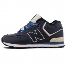Зимние New Balance 574 High Dark Blue/Grey With Fur
